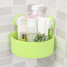 High quality multifunctional bathroom plastic triangle storage rack/double sucker rack
