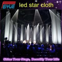 Black fireproof Velvet cloth four leds star backdrop color led light curtain