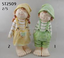 Cute Boy and Girl for Garden Decor Resin Children Garden Statues