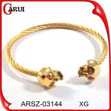 Joyería de acero inoxidable nuevos diseños de pulsera de oro pulsera del cráneo