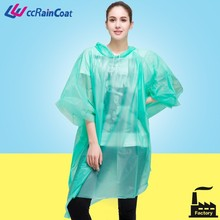 Adult PEVA Clear Plastic Rain Poncho for One Time Use