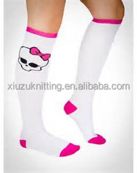 buy from china girls white patterned knee high sexy sock