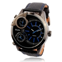 fashion designer inspired multiple 3 time zone with 100% genuine leather band oulm 3136 men wrist relogio quartz watch