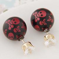 Hot Selling 2015 Fashion Design Crystal Double Side Pearl Earrings Wholesale Skull Ball Earrings For Women E1491