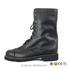 Black leather boot with side zip.
