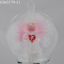 wholesale shiny white christmas ornament balls with angel