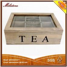 Custom design 6 compartments wooden tea bag box with lid