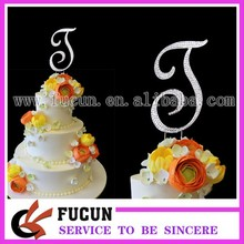 wholesale Bling crystal rhinestone silver wedding letter initial monogram cake topper-5""