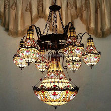 High quality Tiffany stained glass chandelier for,tiffany lamp shade