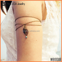Bohemian Chic Arm Cuff Chain Turquoise Leaf Arm Bracelet Boho Beach Trendy Hippie Fashion Arm Band