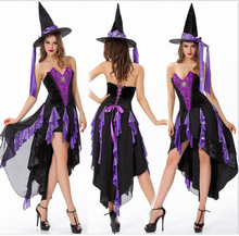 Fashion Adults Sexy Witch Costume Cheap Vampire Hat Party Fancy Cosplay Dress