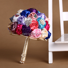 2015 latest arrival colorful rose bridal bouquet,colorize rose wedding brooch