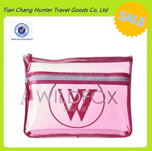 China custom waterproof zipper pink transparent PVC cosmetic bag for women bikini