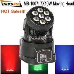 Good quality!! 7X10w LED Moving Head Lights Wash RGBW LED Mini 7 Moving Head