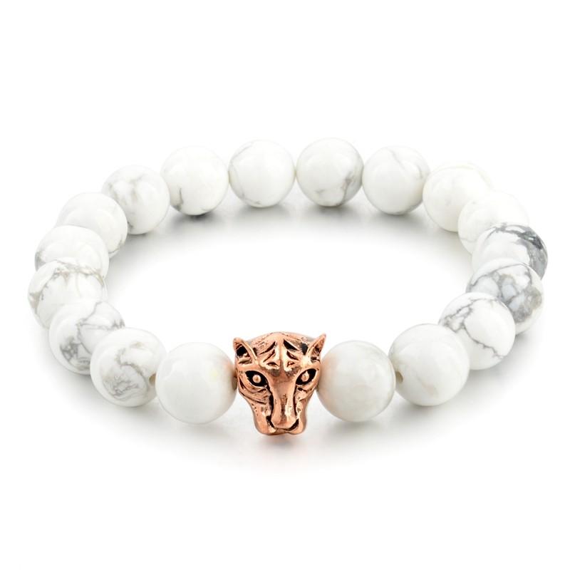 hommes accessoires de mode de t te de l opard hommes blanc 10mm marbre perl bracelet bijoux en. Black Bedroom Furniture Sets. Home Design Ideas