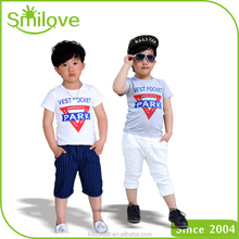OEM supply type baby fashion clothes summer plain organic cotton toddler children boys t shirt