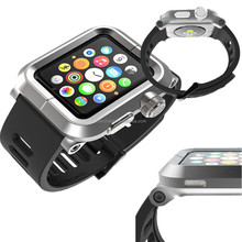 Rugged Armor Metal Silver Case & Soft Silicone Strap For Apple Watch ,for apple watch protector case with silicon band