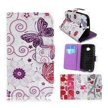 Printing Color Credit Card Slots Leather Case for MOTOROLA moto E , for MOTOROLA moto E Mobile phone case