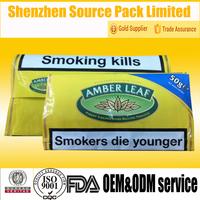 amber leaf rolling herbal incense bags with ziplock/wholesale rolling herbs packaging bag