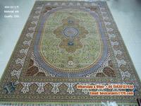 9x12ft Popular hand woven spun silk carpet in warehouse