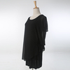 2015 clothing Unique Stylish Black Cotton and chiffon Short Sleeves females Cocktail Top