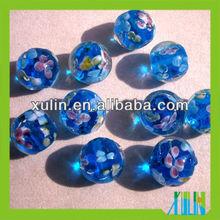round transparent blue glass beads mixed flower foil beads