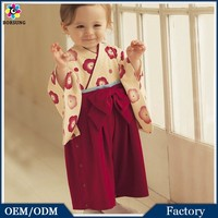 Top Quality Japan Style Kimono Baby Girls Rompers Red Floral Print Toddler Flower Girls Dress Newbown Baby Cotton Clothes