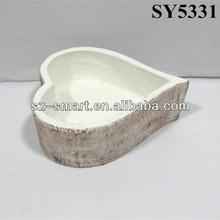 Heart shape cement clay garden flower pot