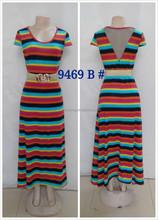 Fashin design cap sleeve round ankle length beach dress 5 color striped prom dress casual dress 2015