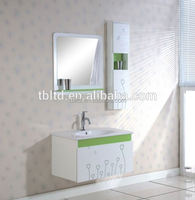 white mirrored MDF, PVC wall mounted black 50mm corner acrylic/abs shower tray and bathroom vanity