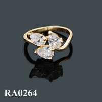 Three Stones Gemstone Ring Designs, Gold Wedding Ring 18 karat