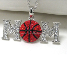 Fashion red crystal ball neckalce rhinestones ball pendant jewelry with mom letter neckalce