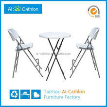 Outdoor white plastic high top bar table and chairs for sale