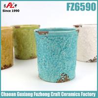 2015 new design colorful small ceramic flower pot