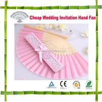 Hot! Cheap Folding Bamboo Wedding Invitation Hand Fan