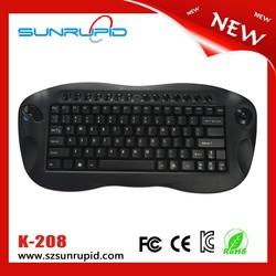 Latest multimedia type wireless mini keyboard and mouse 2.4g trackball keyboard black