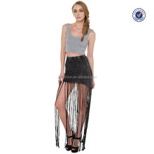 2015 crash & burn black acid wash fringe skirt express latest fashion skirt with fringe