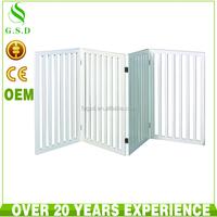 wholesale indoor white wooden 4 panel pet dog gate , pet door