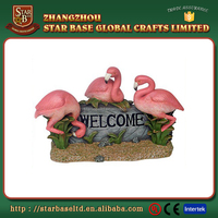 Vivid lovely red flamingo decoration fashion resin desk figurine