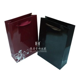 red and black paper gift bag/ good selling beautiful flower printed red paper bag