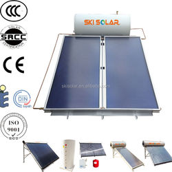 300L china manufacture Jacket intergrated pressurized solar flat panel system double panels