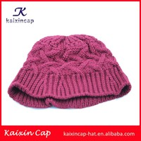 latest desigh hand customed winter popular style knitted beanie hats wholesale for sale