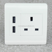 Bratish type electrical wall sockets with dual USB port & UK 13A socket outlet