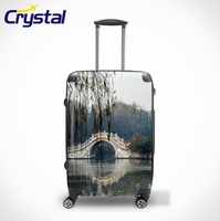2014 Custom Personalized Business Travle Colorful Trolley 100% PC Unique Waterproof Airport Wheeled Luggage Sets
