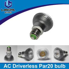 Langma Super Bright High power Led PAR Lamp Dimmable E27 B22 cold/warm white AC cob 7w par20 led spotlights