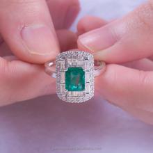 2015 Fashion 18K white Gold Emerald solid Diamond Rings JWRWE15015