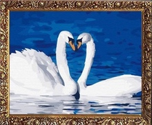 40*50cm handmade painting swan, acrylic painting by number
