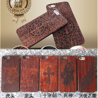 Fancy DIY various design Wooden Pattern for iPhone 6 case, engraved hard back for apple iphone 6 case