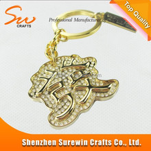 custom character metal keychain gold color diamonds keyring
