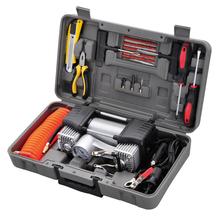 12V DOUBLE CYLINDER Mini car air compressor Mini car air Pump Auto tire INFLATOR with TOOL CASE